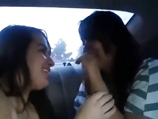 lesbian girlfriend make out with in a car